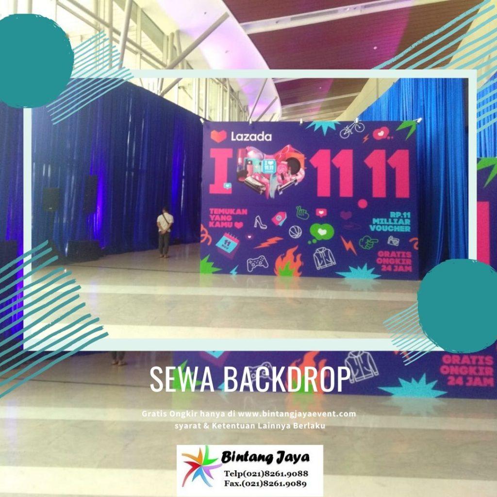 Pusat Sewa Backdrop + Lampu sorot Event Lazada di DKI Jakarta