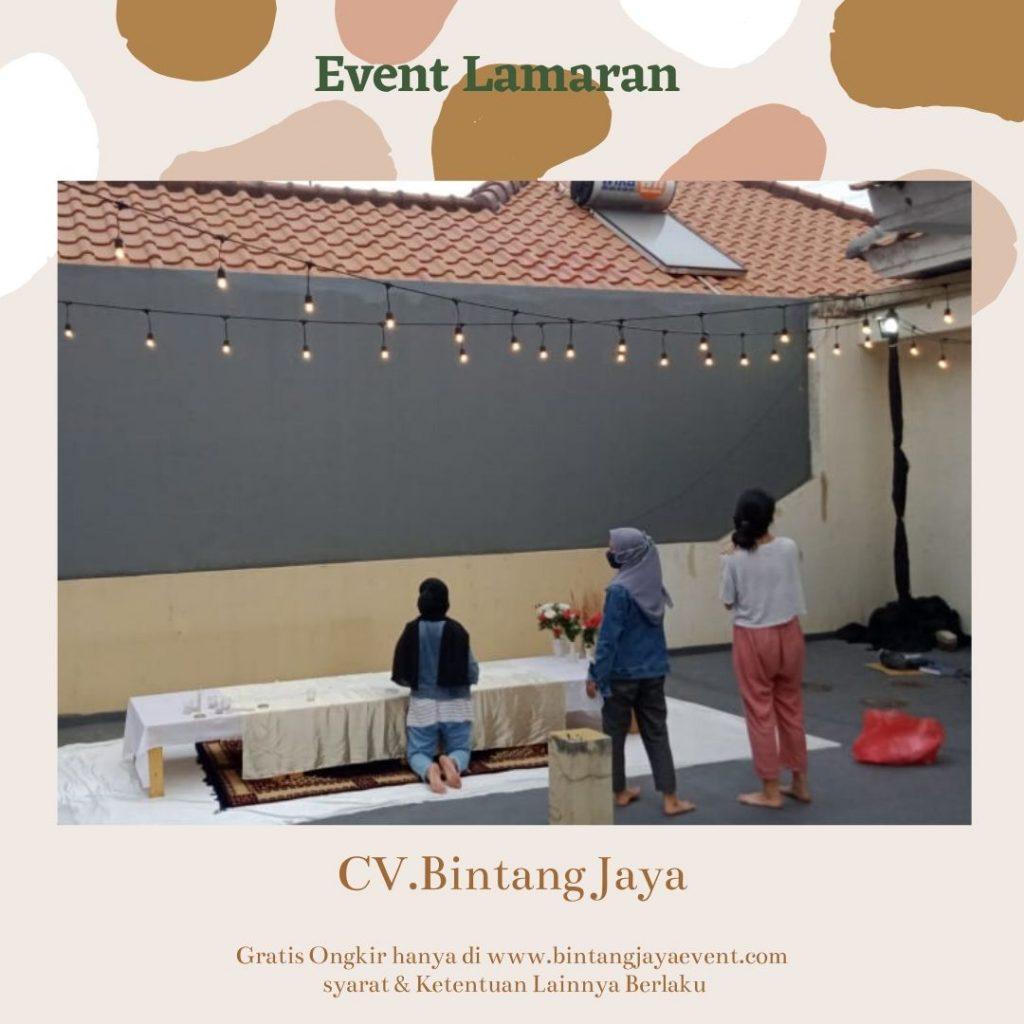 Paket Lamaran Murah New Normal tersedia Tirai, Lampu Taman Gantung, Meja Kayu Lesehan, dekorasi Bunga