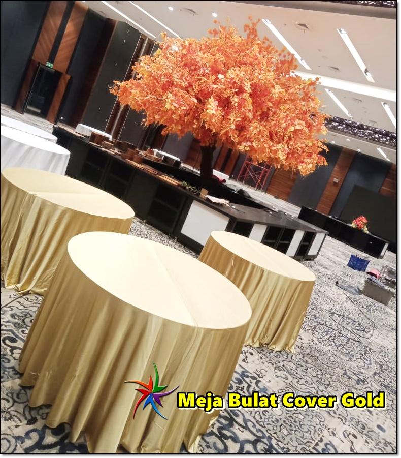 Sewa Meja Bulat Gold Event Sapo Del Jakarta